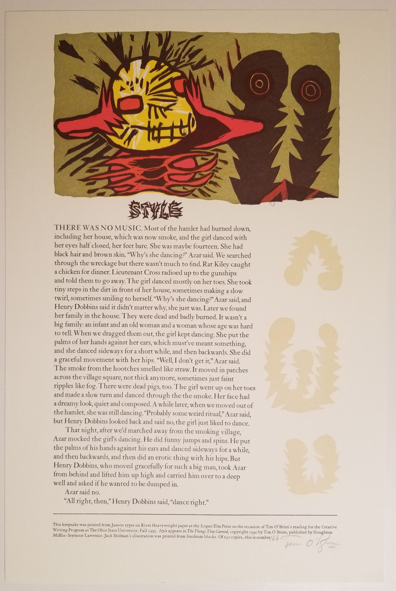 STYLE. Illustration by Jack Shifman. [#166/250 Numbered & Signed]. Tim O'Brien.