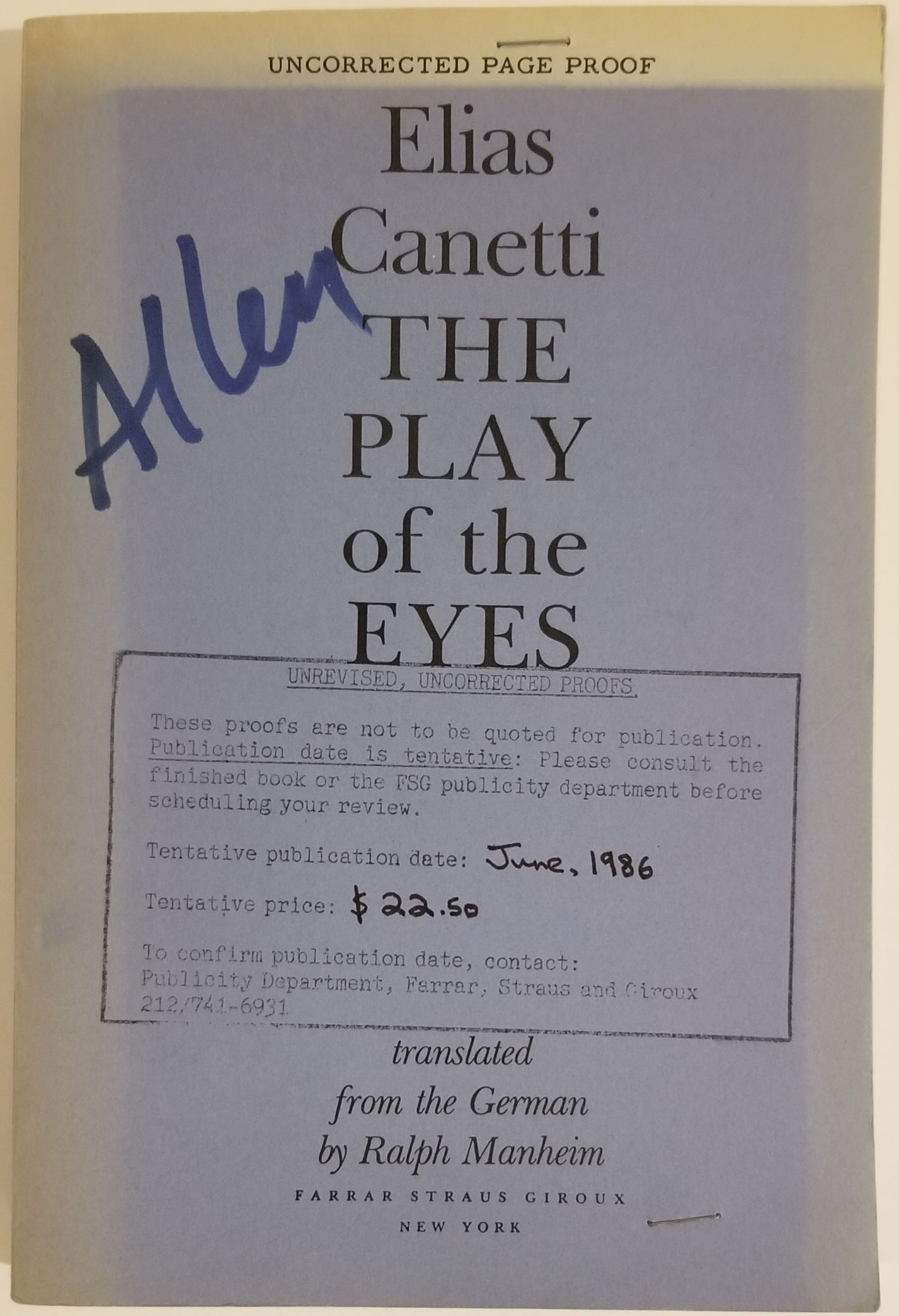 THE PLAY OF THE EYES. Elias Canetti.