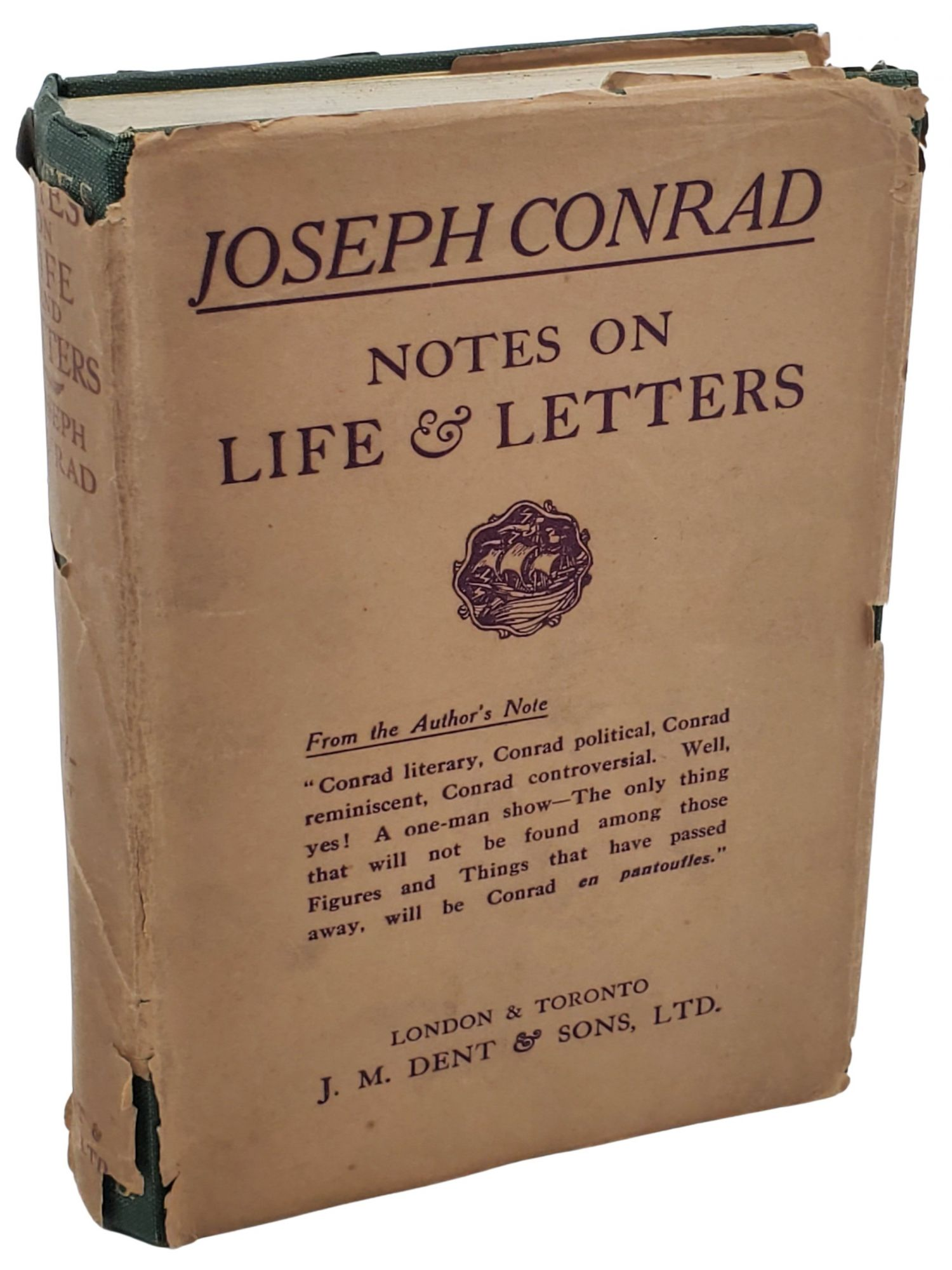 NOTES ON LIFE & LETTERS. Joesph Conrad.