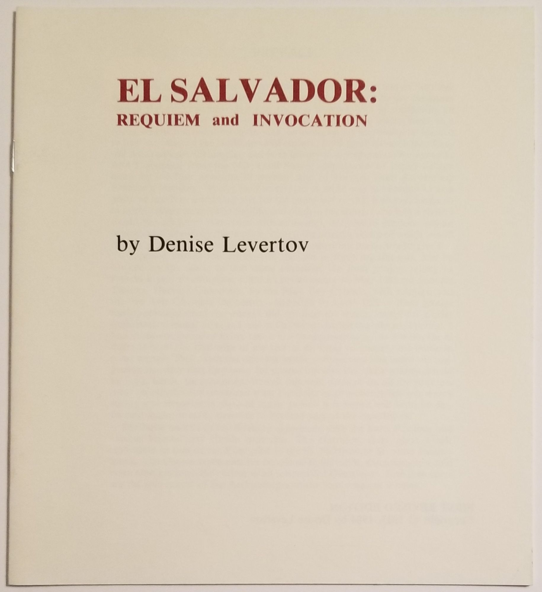 EL SALVADOR: REQUIEM and INVOCATION. Denise Levertov.