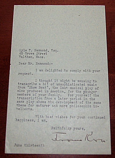 "Typed Letter Signed referring to ""Show Boat"" Jerome Kern"