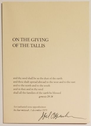 ON THE GIVING OF THE TALLIS. Joel Oppenheimer