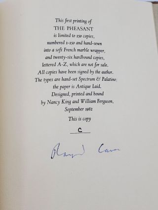 THE PHEASANT [ONE OF 26 SIGNED LETTERED]