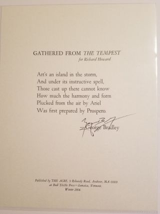 GATHERED FROM THE TEMPEST. George Bradley.