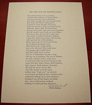 ON THE EVE OF DESTRUCTION. W. D. Ehrhart.