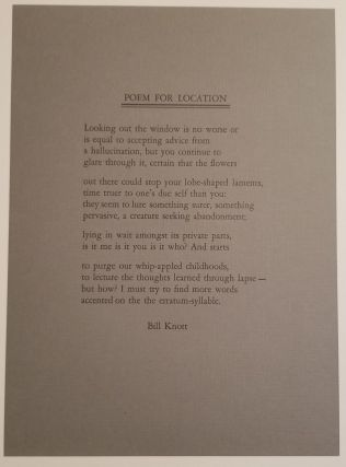 POEM FOR LOCATION. Bill Knott