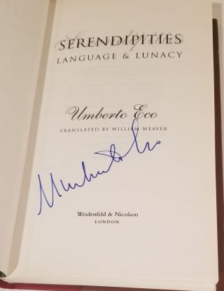 SERENDIPITIES. Language and Lunacy [SIGNED 1ST EDITION].