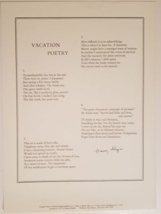 VACATION POETRY. Harvey Shapiro