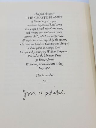THE CHASTE PLANET [ONE OF 26 LETTERED SIGNED]